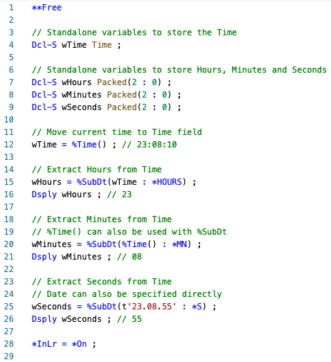 Extract Hours, Minutes and Seconds from Time using %SUBDT - RPGLE