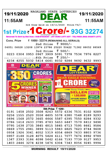 Lottery Sambad 19.11.2020 Today Results 11:55 am, Nagaland State Lottery Sambad Today Result 11.55 am, Sambad Lottery, Lottery Sambad Live Result Toda