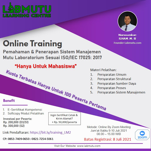 Pelatihan Online Khusus Mahasiswa ISO/IEC 17025: 2017
