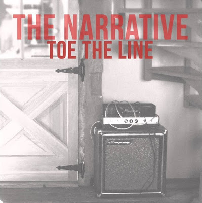 Black and white photo of a wood door with an amplificator and a text that says 'the narrative toe the line' in red