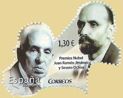Sello de Severo Ochoa y Juan Ramón Jiménez