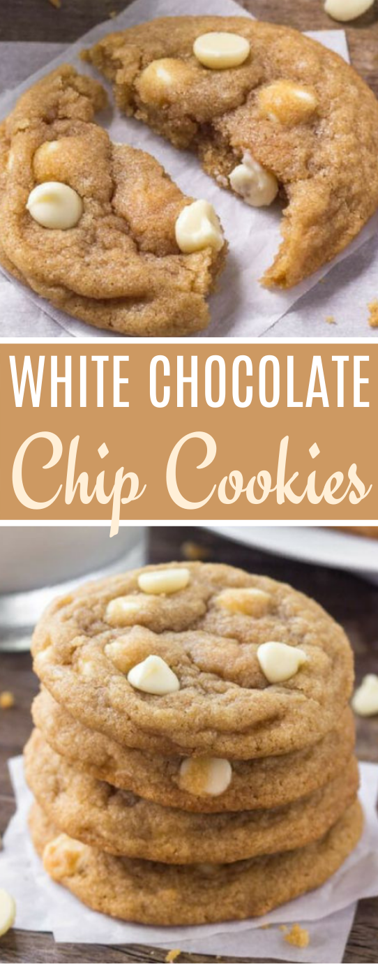 White Chocolate Chip Cookies #cookies #desserts #baking #easy #recipes