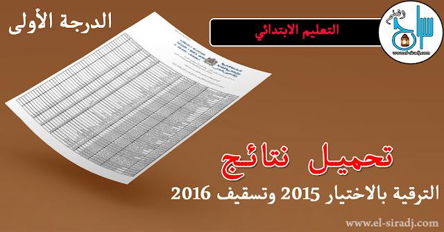 تحميل نتائج الترقية بالاختيار برسم 2015 وتسقيف 2016 - التعليم الابتدائي الدرجة الأولى