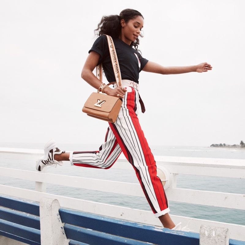 Actress Laura Harrier takes a leap in Louis Vuitton Twist spring-summer 2021 campaign.