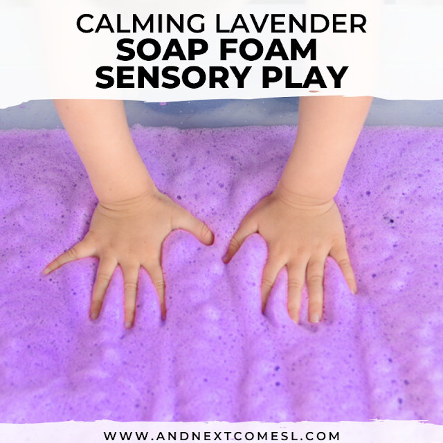 Simple calming lavender sensory bin for toddlers and preschoolers