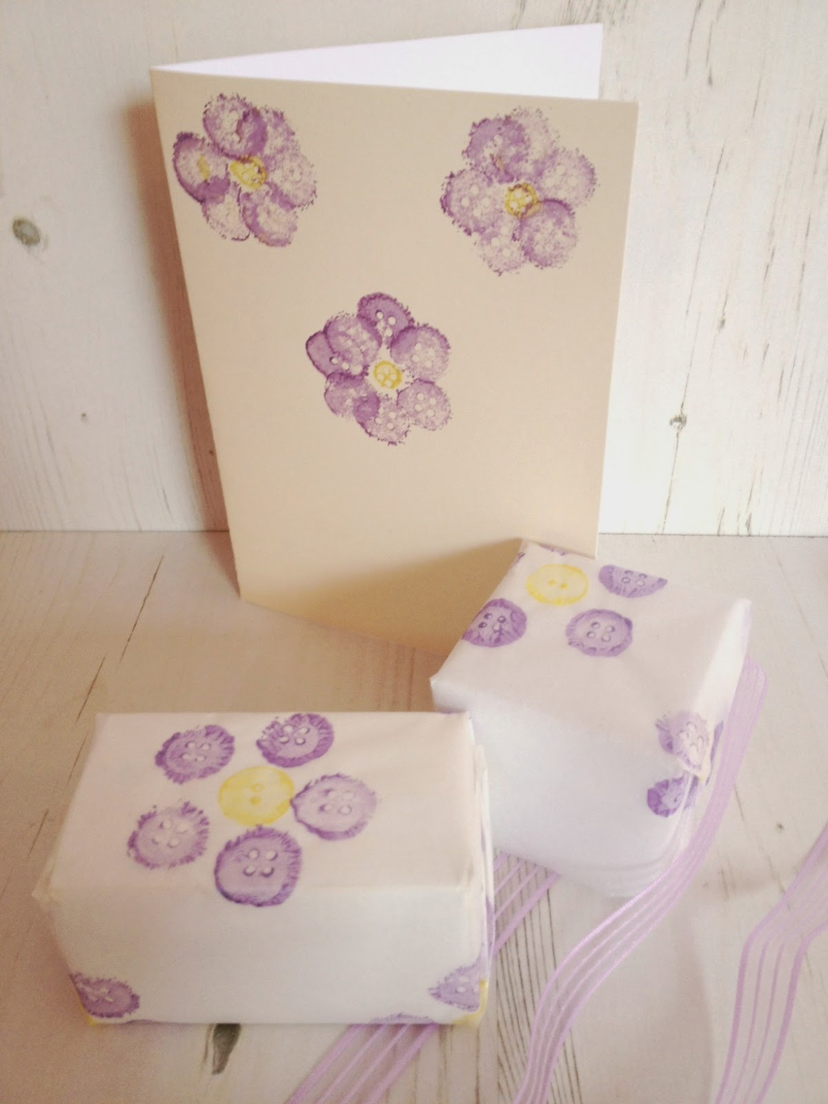 Button stamped flowers gift wrap cards