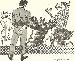 Illustration by Harry Turner, accompanying the original publication in Nebula Science Fiction magazine of short story Down Rover Down by Eric Frank Russell, showing the aliens assembly on Mars deliberating whether Man should be allowed to join their union. Also present in picture is the human representative.