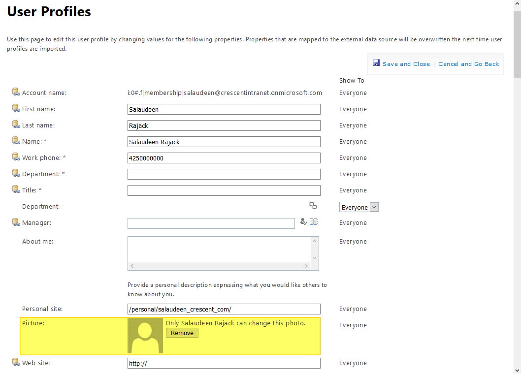 change user profile picture in sharepoint online