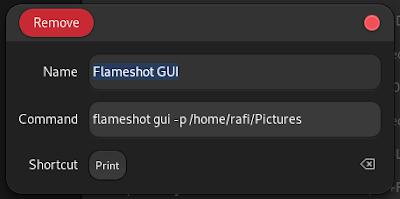 setting flameshot command and shortcut
