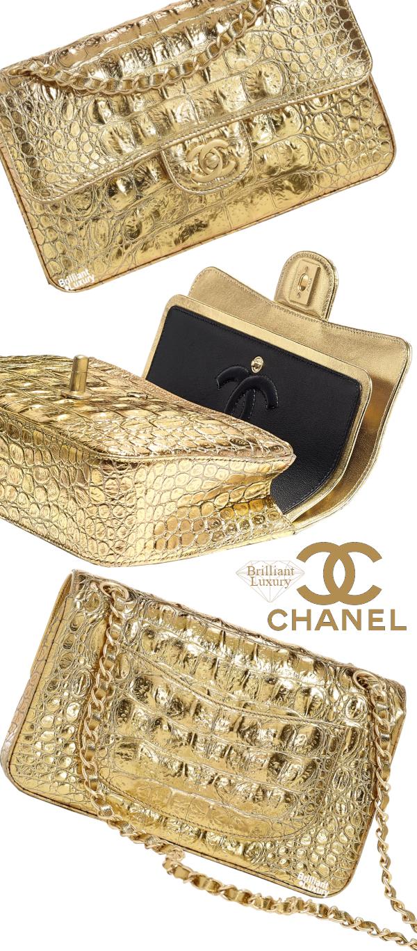 Brilliant Luxury♦Chanel Metallic Crocodile Embossed Calfskin and Gold Bag