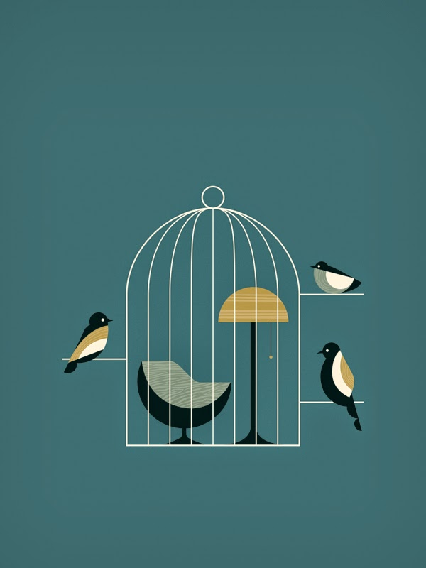 Ilustración minimalista de Paul Tebbott