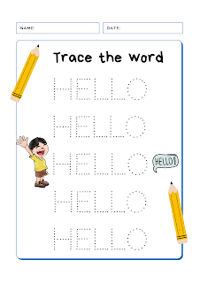 Trace the Word HELLO Free Worksheet