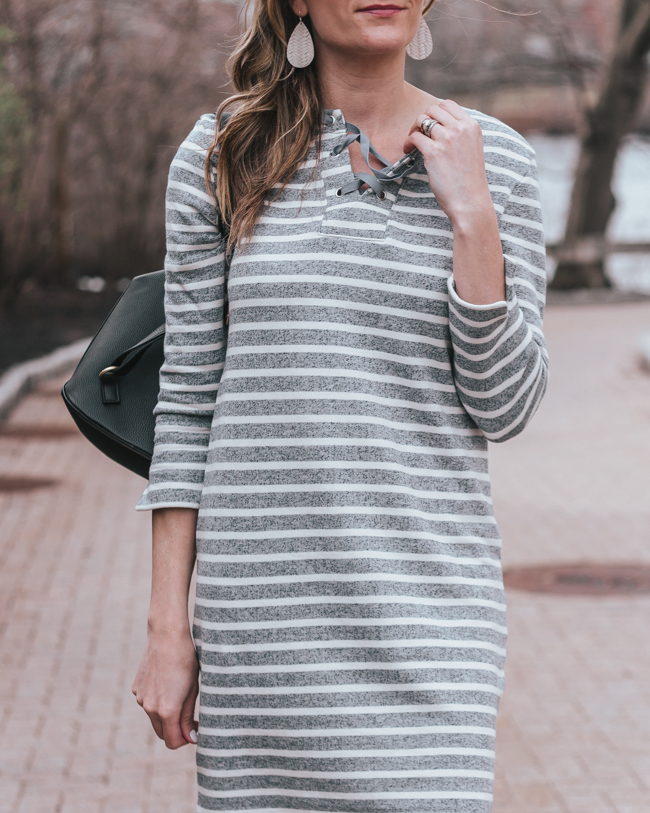 Lace Up Stripe Dress #casualdress #springfashion