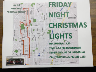 route map for friday night christmas lights trolley ride, from downtown Sioux City to 36h street