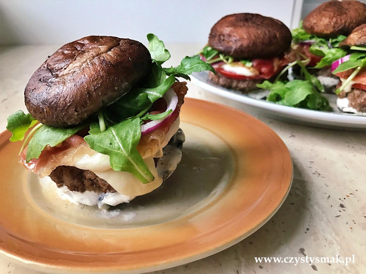Burger z olbrzymich pieczarek