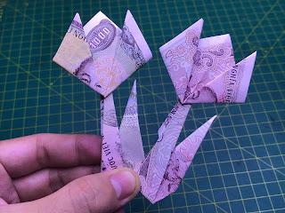 hướng dẫn cách gấp hoa bằng tiền giấy hoa tulip