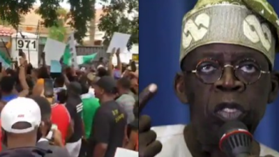 Protesters Lay Siege At Tinubu's House In Lagos (Video)