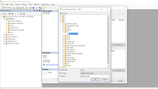 SQL SERVER : Create database from .MDF & .LDF file