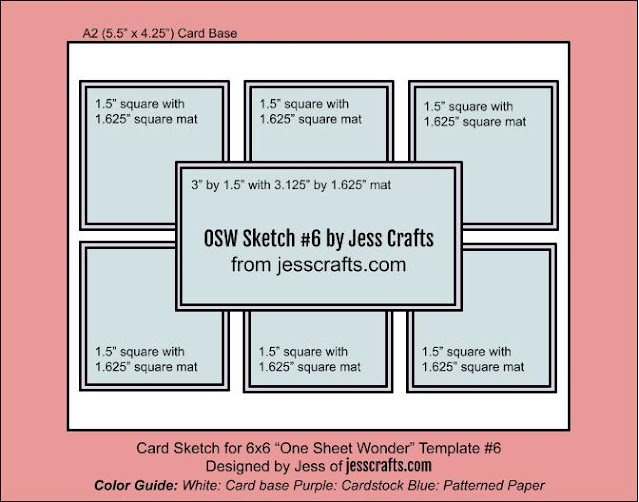 Card Sketch for One Sheet Wonder Template #6 by Jess Crafts