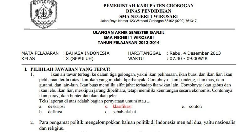 Soal Bahasa Indonesia Smk Kelas 10 Ilmusosial Id