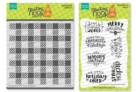 Gingham Stencil and Ornamental Wishes Stamp Set by Newton's Nook Designs #newtonsnook #handmade