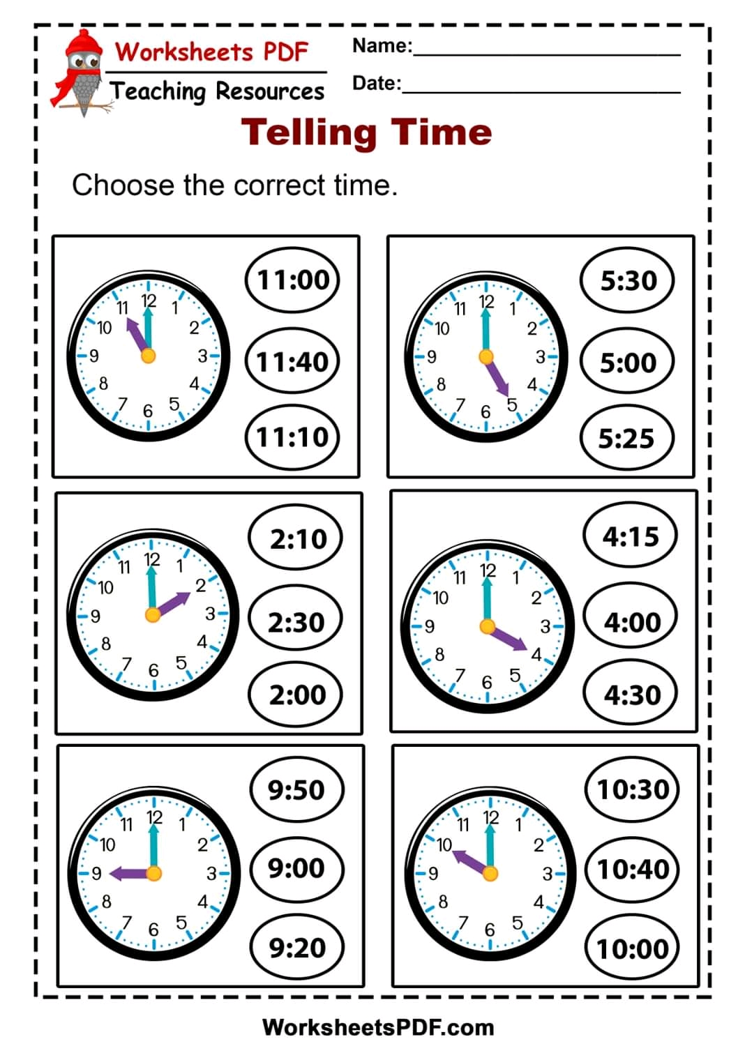 Worksheets Telling The Time
