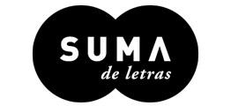 """El logotipo del sello SUMA de letras consta de dos esferas negras ligeramente superpuestas. En el centro está escrito en letras blancas en mayúsculas """"SUMA"""" y debajo más pequeño """"de letras"""""""
