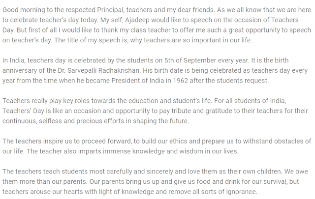 Short Speech on Teachers Day for LKG, UKG, 1st to 10th Class 2019
