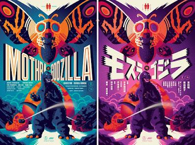 Mothra vs Godzilla Screen Print by Tom Whalen x Mondo