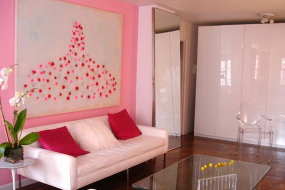 Pink color can cause a romantic effect on your living room.