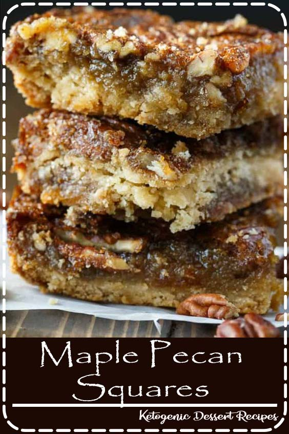 Maple Pecan Squares - So addicting! They are a cross between a butter tart and pecan pie. #dessert #maplepecansquares #squares