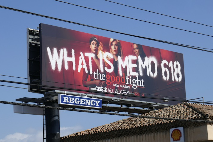 Memo 618 Good Fight season 4 billboard