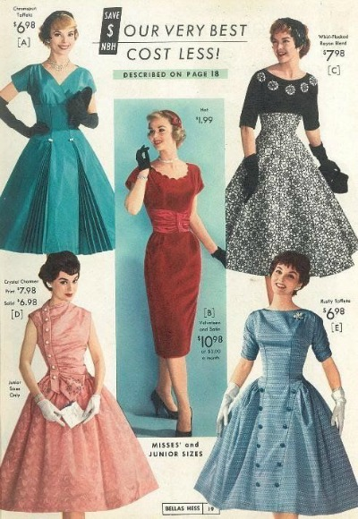 Six different fifties' fashion styles in National Bella's Catalog for Fall Winter 1958-1959