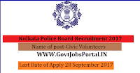 Kolkata Police Board Recruitment 2017– 300 Civic Volunteers