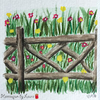 homespun by laura paint my vacation sketch shakespeare garden central park new york city nyc watercolor fence with flowers