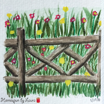 wooden fence with wildflowers watercolor Daily Doodle