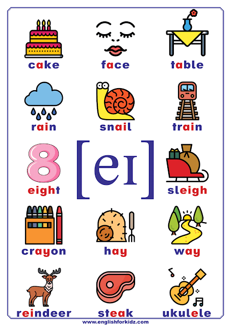 Phonics chart - vowel phoneme eɪ, diphthong sound - words and pictures