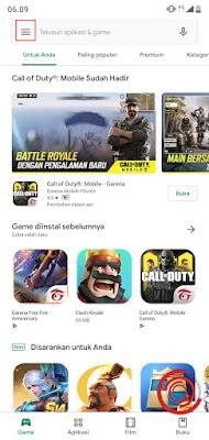 2. Jika sudah di halaman depan Play Store, silakan klik tombol menu garis tiga di pojok kiri atas