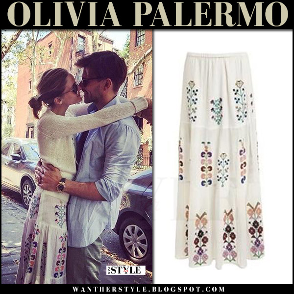 Olivia Palermo in white embroidered maxi skirt melissa odabash pixi and white sweater what she wore july 30 2017