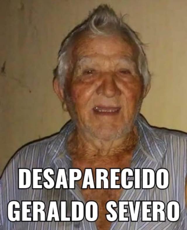 Desaparecido nesta segunda (13), Seu Geraldo Severo pai de Erivan, Maldo, Júnior, Zé galinha. Contatos: (84) 9 9176-3762/ 9 9487-7121