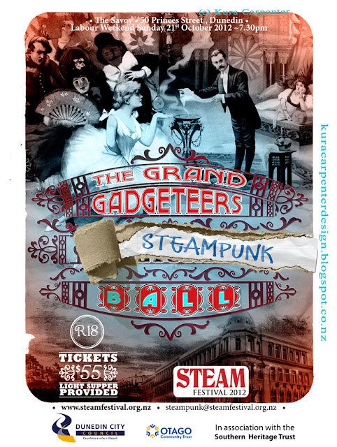 Dunedin Steam Festival Steampunk Ball, Octover 2012, Poster designed by Kura Carpenter, http://kuracarpenterdesign.blogspot.co.nz/