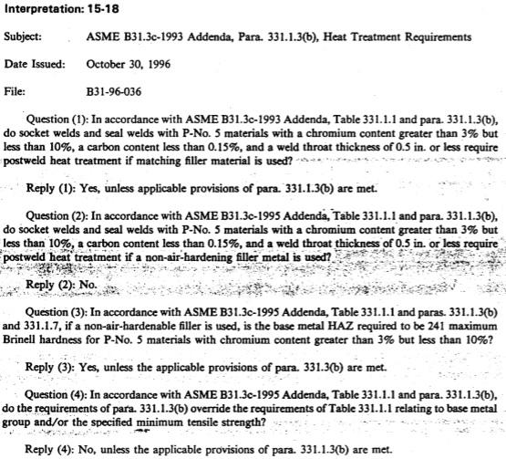 ASME B31 3 - Interpretations [5] - PWHT & Preheat Related
