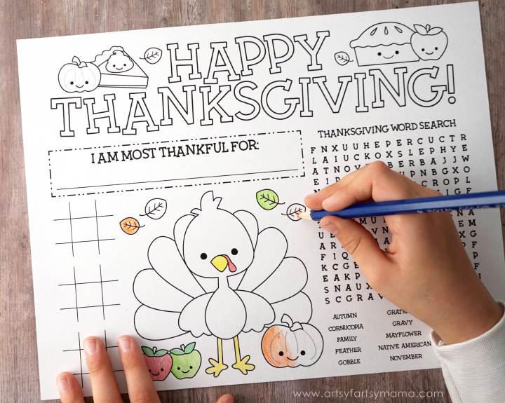 Free Printable Thanksgiving Activity Page Artsy Fartsy Mama