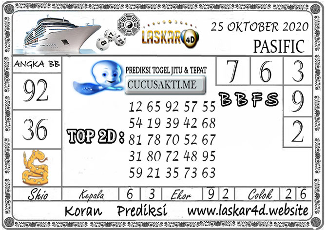 Prediksi Togel PASIFIC LASKAR4D 25 OKTOBER 2020
