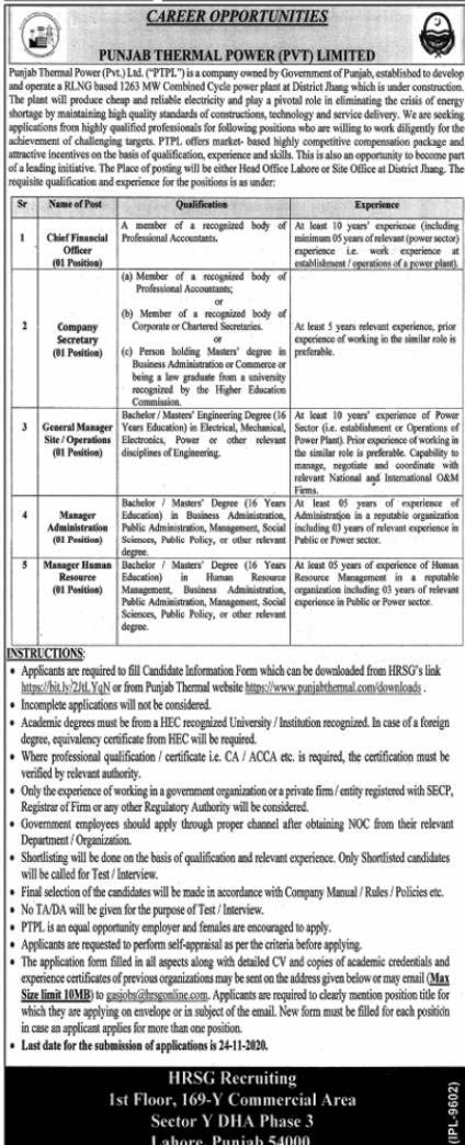 Punjab Thermal Power Jobs