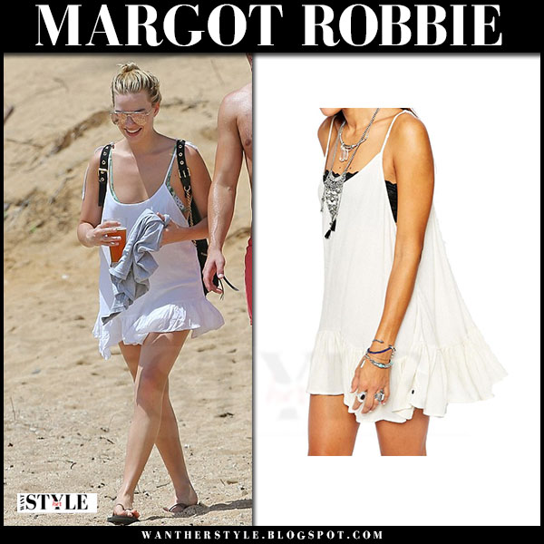 Margot Robbie in white mini dress one teaspoon le pure pinky what she wore