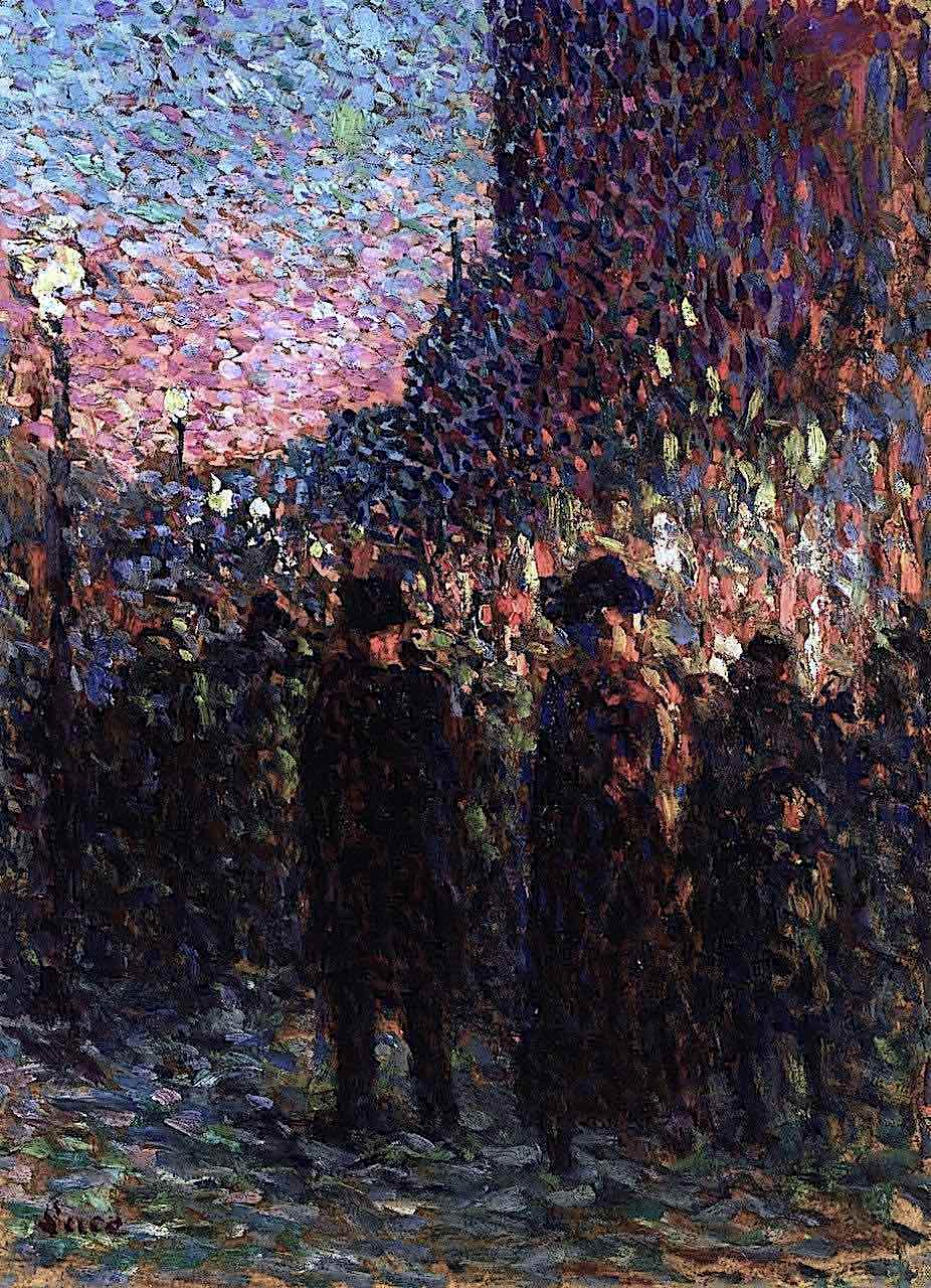 a Maximilien Luce painting of an urban scene with night lights impressionism