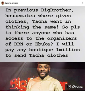 Jaaruma promises to send clothes to Tacha