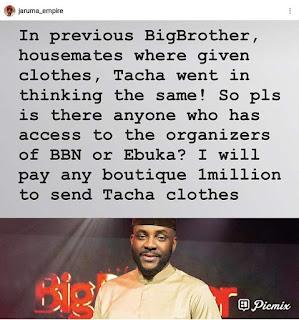 Jaaruma promises to send clothes to Tacha