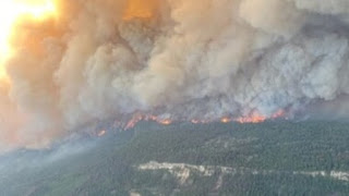 Hot wave, forestfire threaten residents' safety in Canadian village